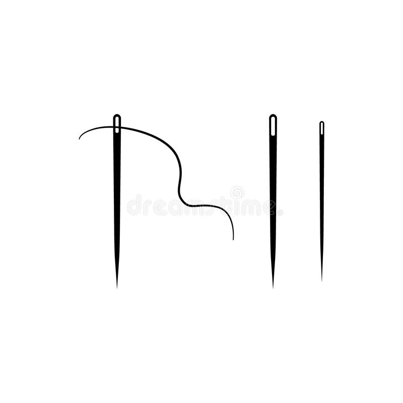 Free Set Of Sewing Needles Vector Icons. Sewing Needle And Thread. Stock Photography - 124131582