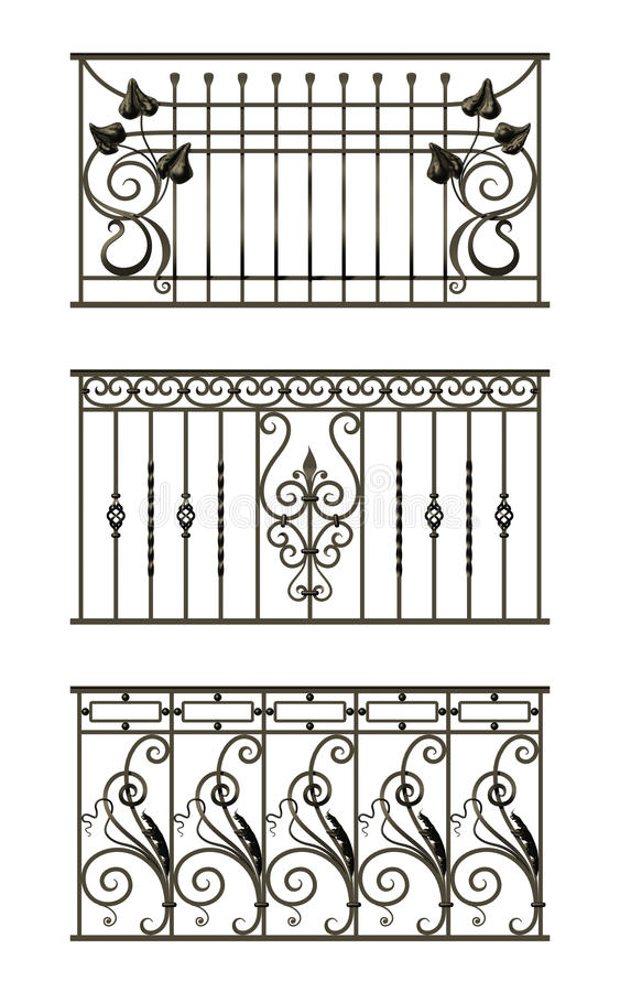 Free Set Of Silhouettes Of Iron Fences Royalty Free Stock Photography - 29412957