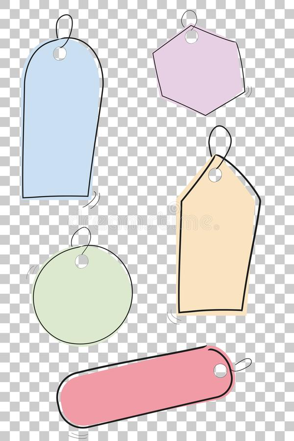 Free Set Of Simple Sketchy Blank Tags With Pastel Color, At Transparent Effect Background Royalty Free Stock Image - 106783246
