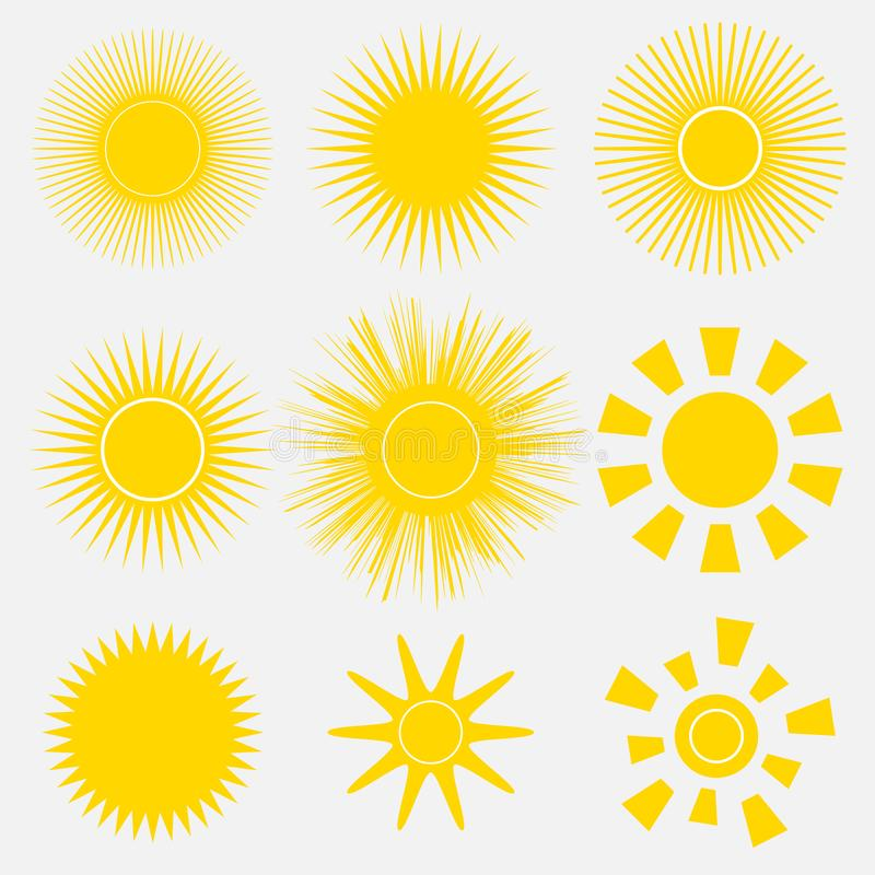 Free Set Of Simple Yellow Orange Sun Icons On White Background. Cartoon Vector Illustration Of A Sunrise. Royalty Free Stock Images - 129267089