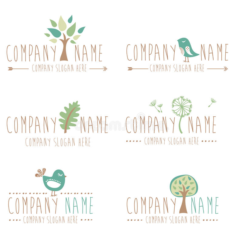 Free Set Of Six Nature And Gardening Logos Royalty Free Stock Photography - 38343447