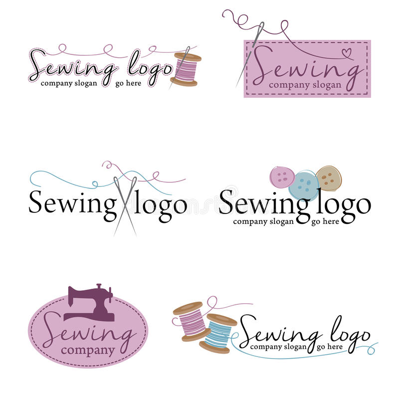 Free Set Of Six Sewing Logos &x28;vector&x29; Royalty Free Stock Photography - 60436967