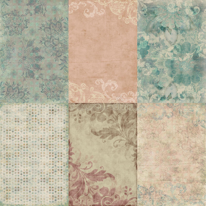 Free Set Of Six Vintage Floral Shabby Backgrounds Royalty Free Stock Photos - 23162968