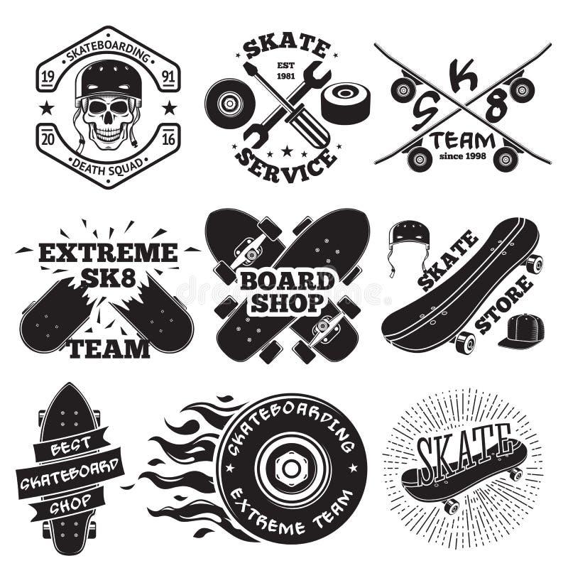 Free Set Of Skateboarding Labels - Skull In Helmet, Repair, Skate Team, Board Shop, Etc. Vector Stock Images - 74817794