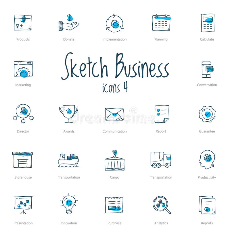 Free Set Of Sketch Business Icons With Blue Accent Royalty Free Stock Image - 91586226