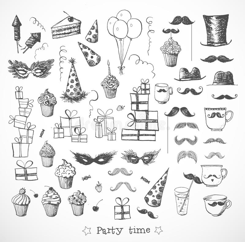Free Set Of Sketch Party Objects Hand-drawn With Ink Stock Images - 58573224