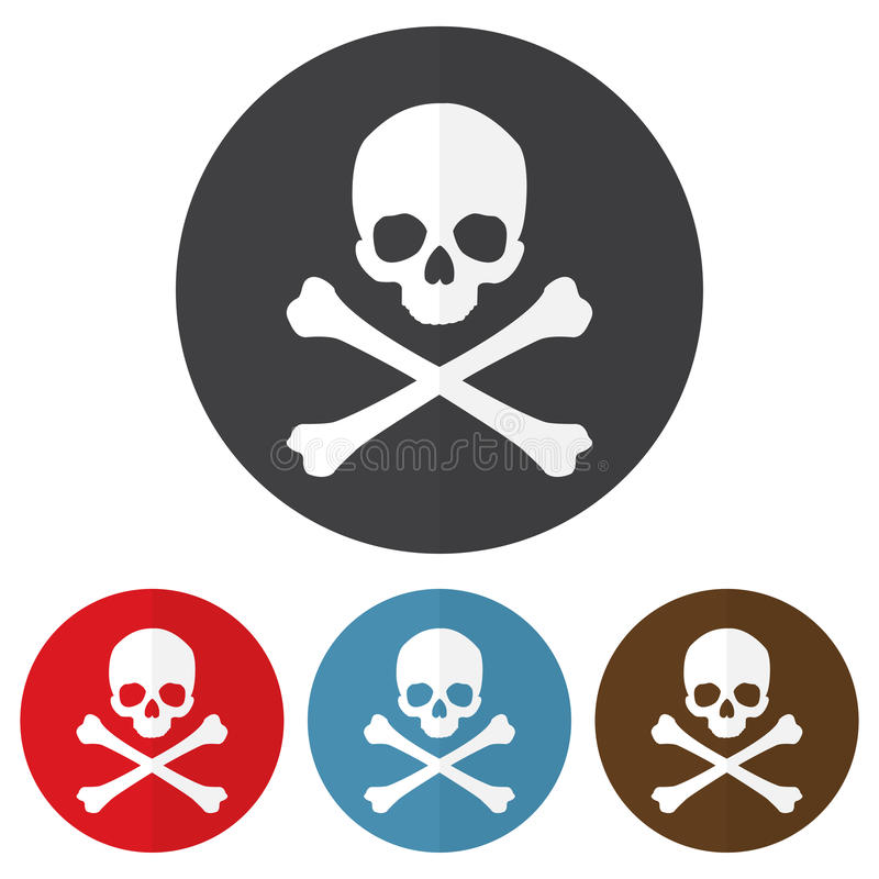 Free Set Of Skull And Crossbones Icon On A Colorful Circles. Vector Illustration Royalty Free Stock Photography - 91601047