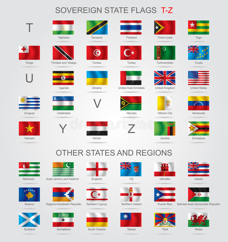 Free Set Of Sovereign State Flags T-Z And Other Royalty Free Stock Image - 63486186