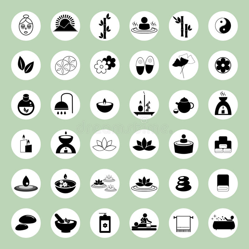 Free Set Of Spa And Massage Icons Stock Images - 50341784