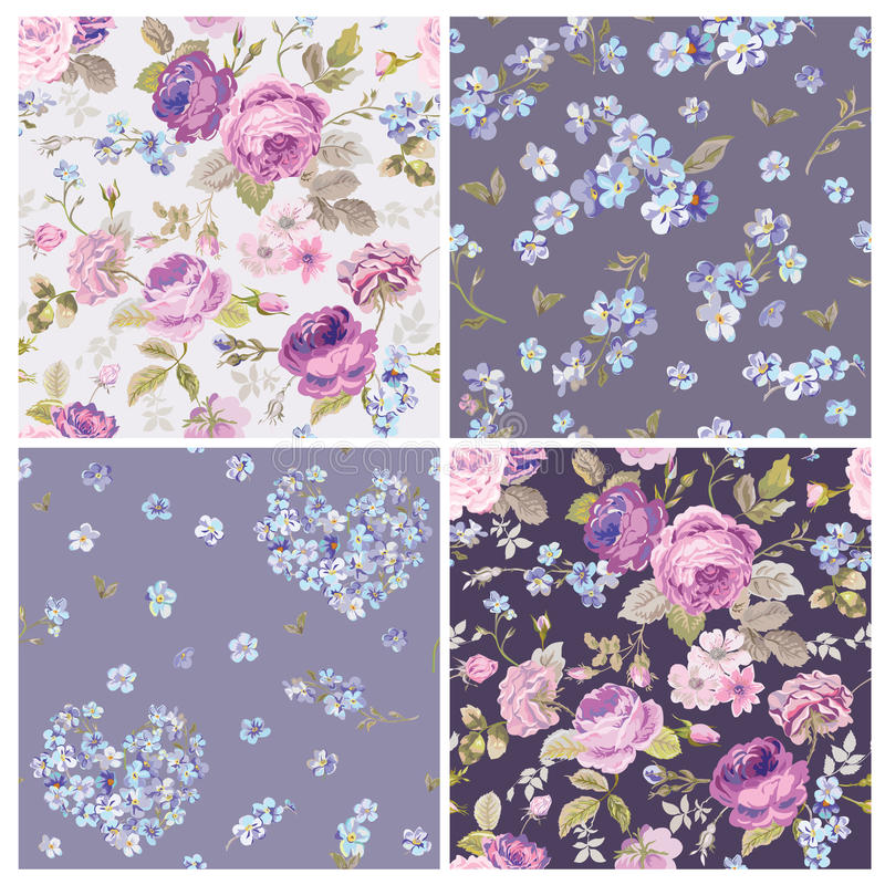 Free Set Of Spring Flowers Backgrounds Stock Photography - 52672522