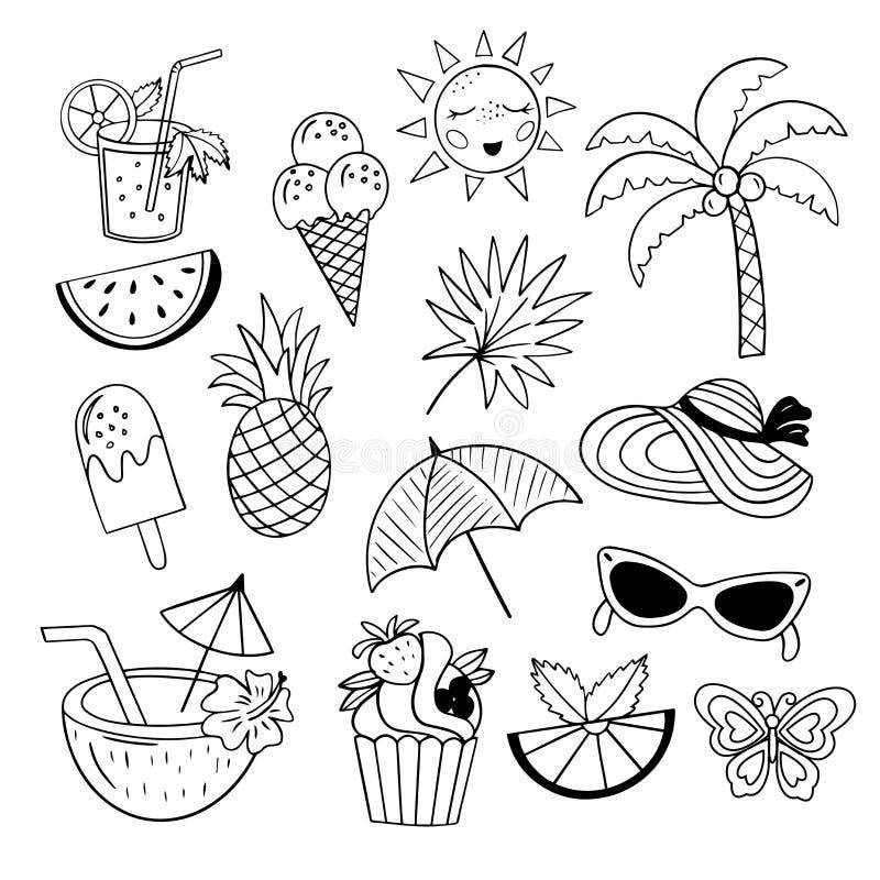 Free Set Of Summer Element - Sun, Cake, Palm, Ice Cream Royalty Free Stock Photography - 207538247