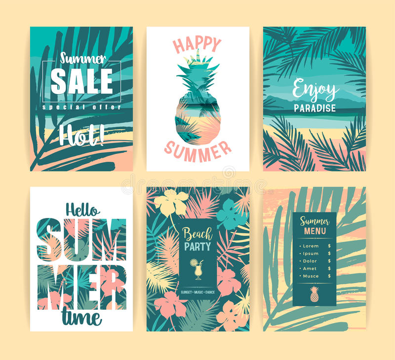 Free Set Of Summer Tropical Designs. Vector Templates. Royalty Free Stock Photo - 95550155