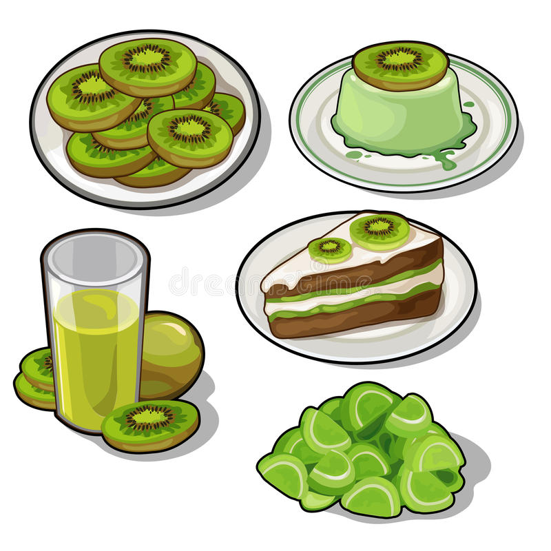 Free Set Of Tasty Dishes Made With Tropical Kiwi Stock Image - 85070301