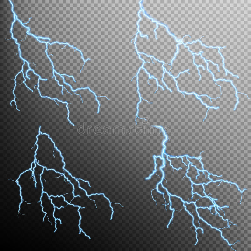 Free Set Of The Isolated Realistic Lightnings. EPS 10 Royalty Free Stock Image - 71974436