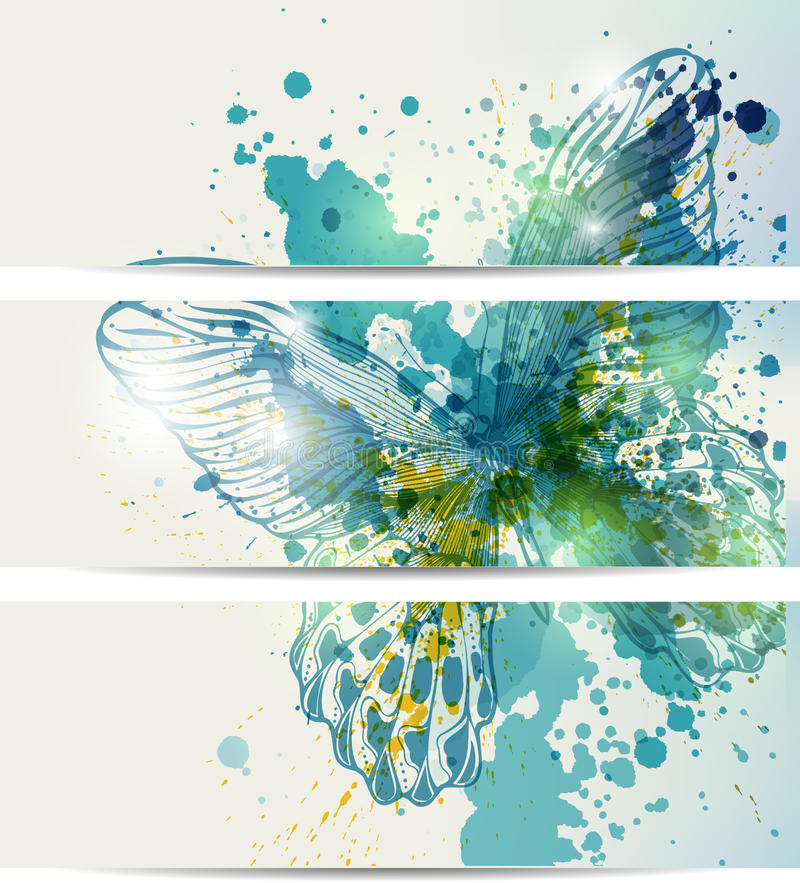 Free Set Of Three Banners With Butterflies And Abstract Royalty Free Stock Image - 26043756