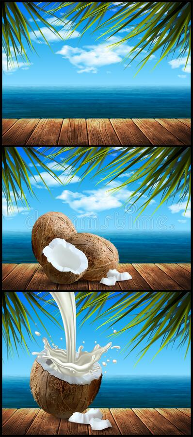 Free Set Of Three Landscapes. Sea Shore, Palm Trees, Coconuts. Highly Realistic Illustration Stock Photography - 189993602