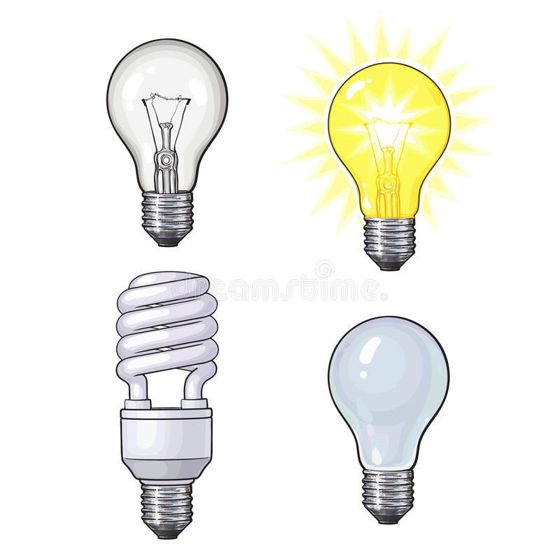 Free Set Of Transparent, Opaque, Glowing And Energy Saving Light Bulb Royalty Free Stock Photo - 85258145