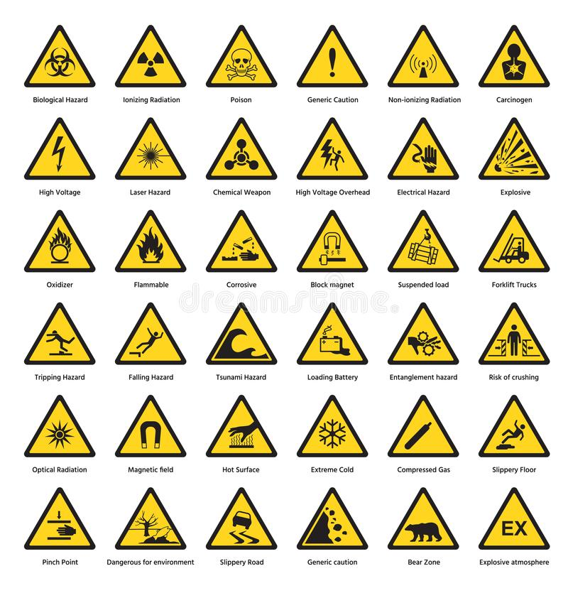 Free Set Of Triangle Yellow Warning Sign Hazard Dander Attention Symbols Chemical Flammable Security Radiation Caution Icon Stock Photo - 101145950