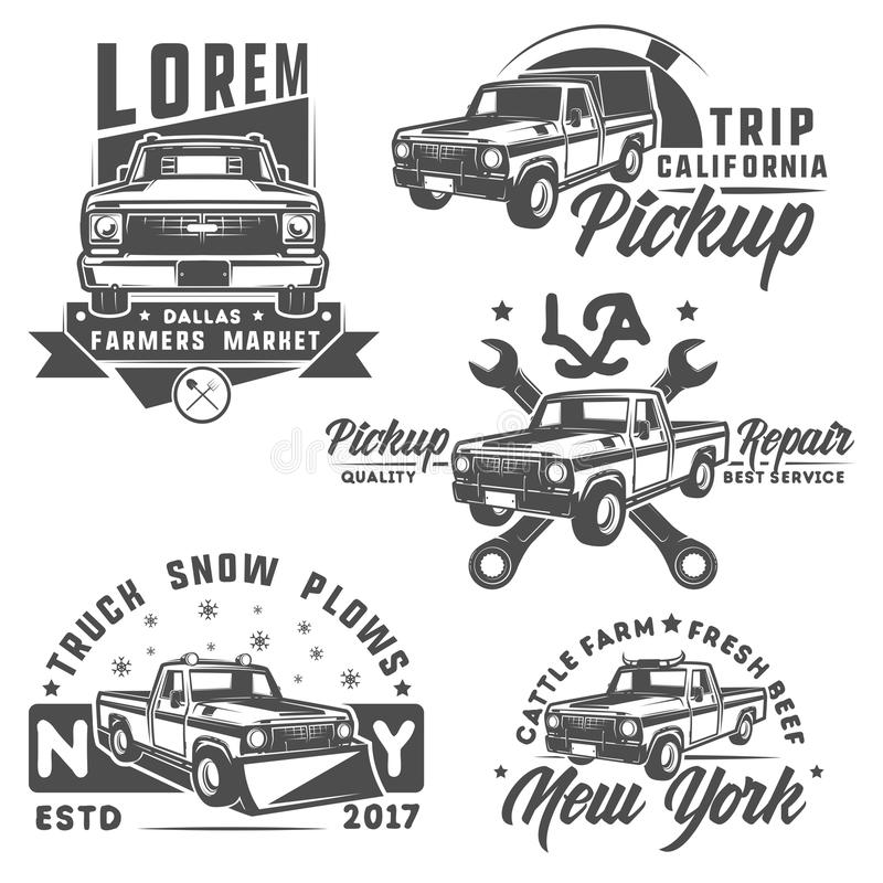 Free Set Of Truck And Pickup For Emlems And Logo. Stock Photo - 77839040