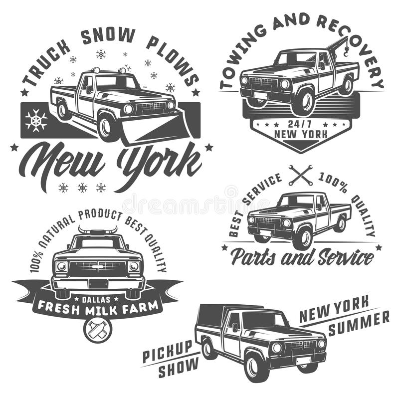Free Set Of Truck And Pickup For Emlems And Logo. Royalty Free Stock Photos - 77839108