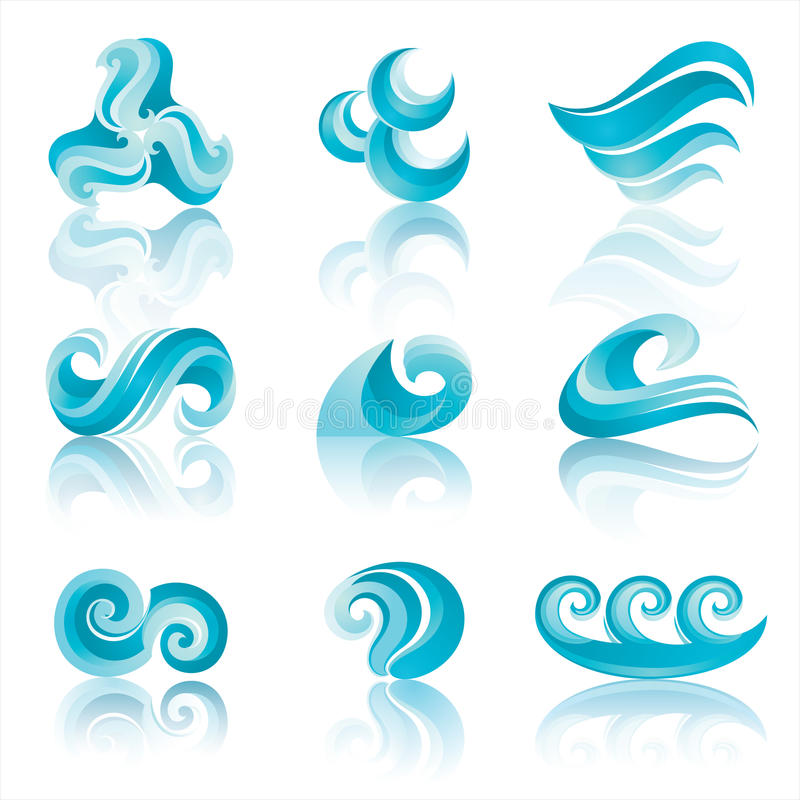 Free Set Of Turquoise Waters Icons With Reflection Stock Photos - 17256323