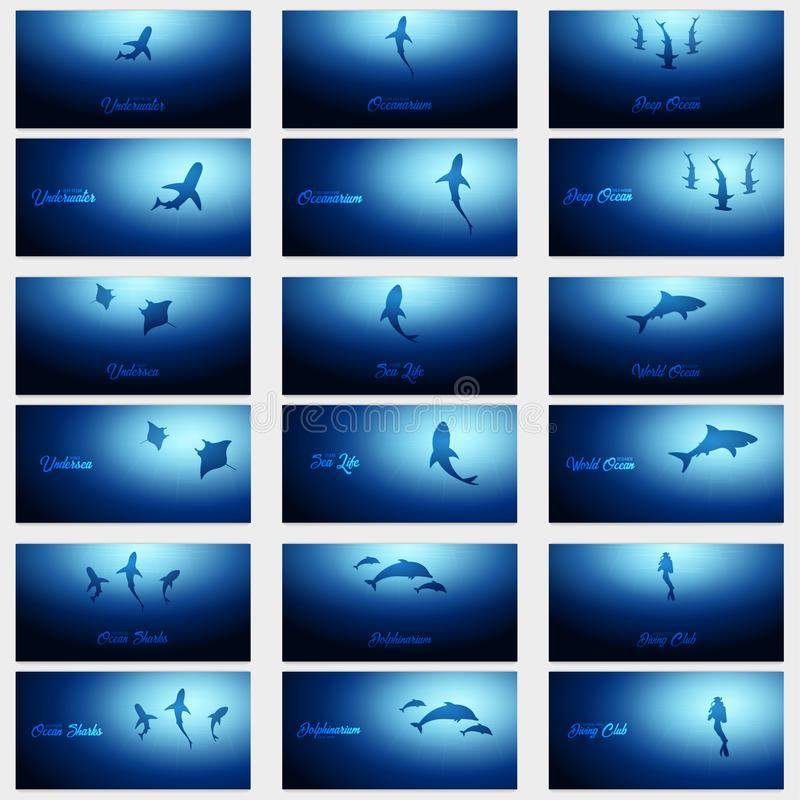 Free Set Of Underwater Backgrounds With Sun Rays And Silhouette Of Fishs. Deep Ocean Banner. Color Vector Illustration. Stock Photos - 113123633