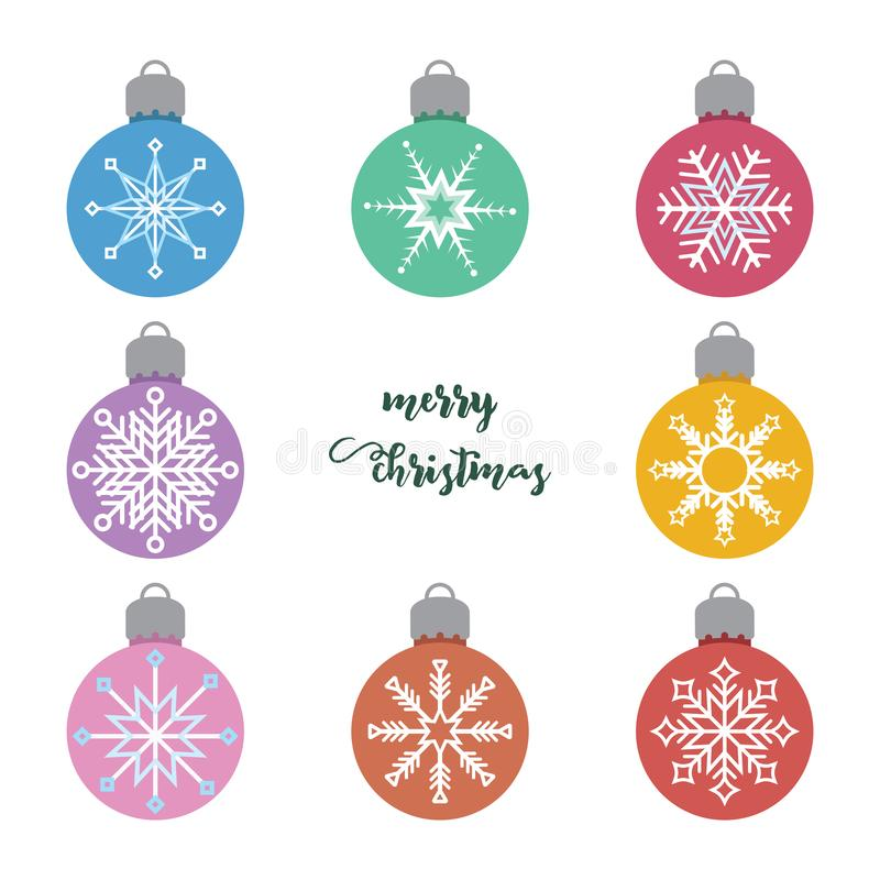 Free Set Of Various Christmas Baubles With Snowflake Pattern Royalty Free Stock Image - 162992306