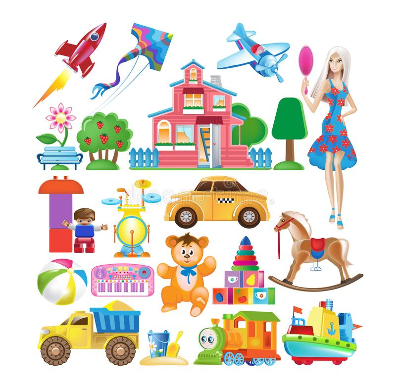 Free Set Of Various Colorful Children`s Toys. Educational And Sports Games. Stock Images - 102003294
