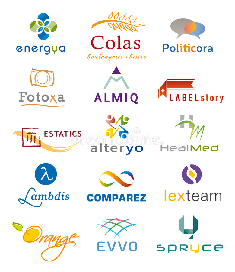 Free Set Of Various Icons And Logo Designs - Multiple Colors And Elements Stock Images - 98518844