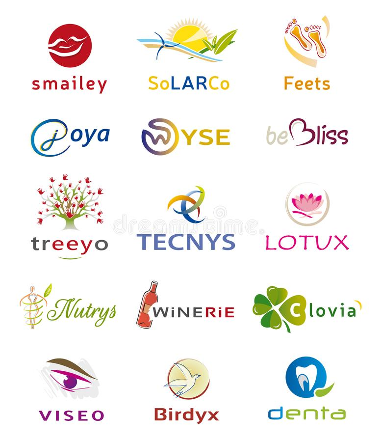 Free Set Of Various Icons And Logo Designs - Multiple Colors And Elements Stock Image - 99430981