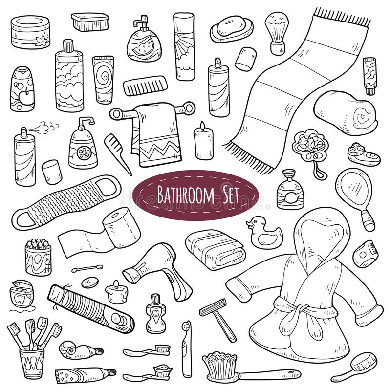 Free Set Of Vector Cartoon Bathroom Elements And Personal Hygiene Items Royalty Free Stock Image - 51776776