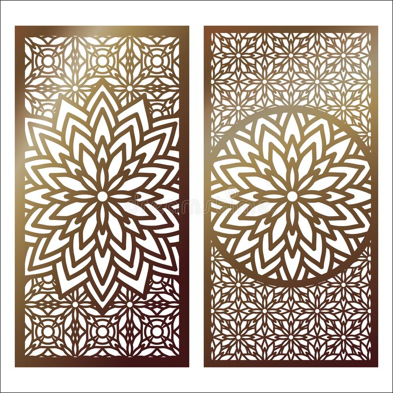 Free Set Of Vector Laser Cut Panel. Pattern Template For Decorative P Royalty Free Stock Images - 113277639