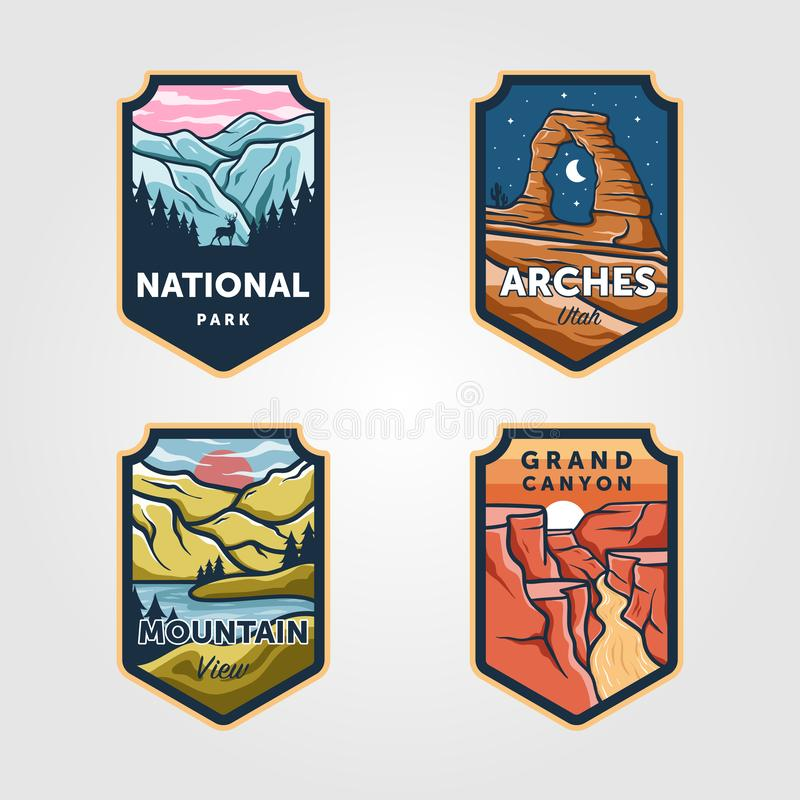 Free Set Of Vector National Park Outdoor Adventure Vintage Logo Emblem Illustration Designs Stock Photos - 168494363