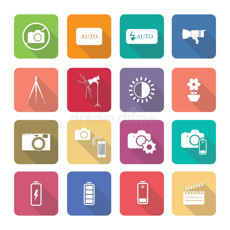 Free Set Of Vector Photography Icons In Flat Design Set 2 Stock Photo - 44224370