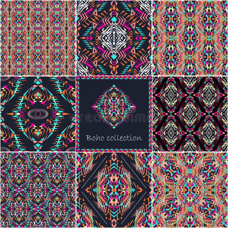 Free Set Of Vector Seamless Textures With Tribal Geometric Pattern And Frame. Electro Boho Color Trend Stock Photo - 70230600