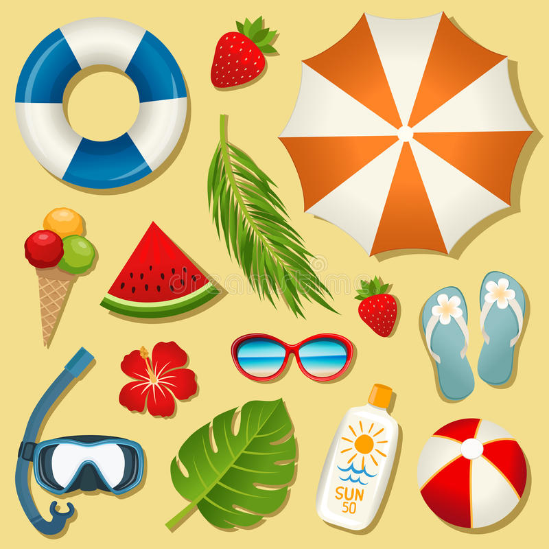 Free Set Of Vector Summer Elements Royalty Free Stock Photography - 94682037