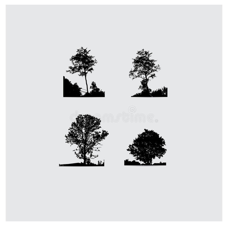 Free Set Of Vector Tree Silhouettes Royalty Free Stock Image - 73334076