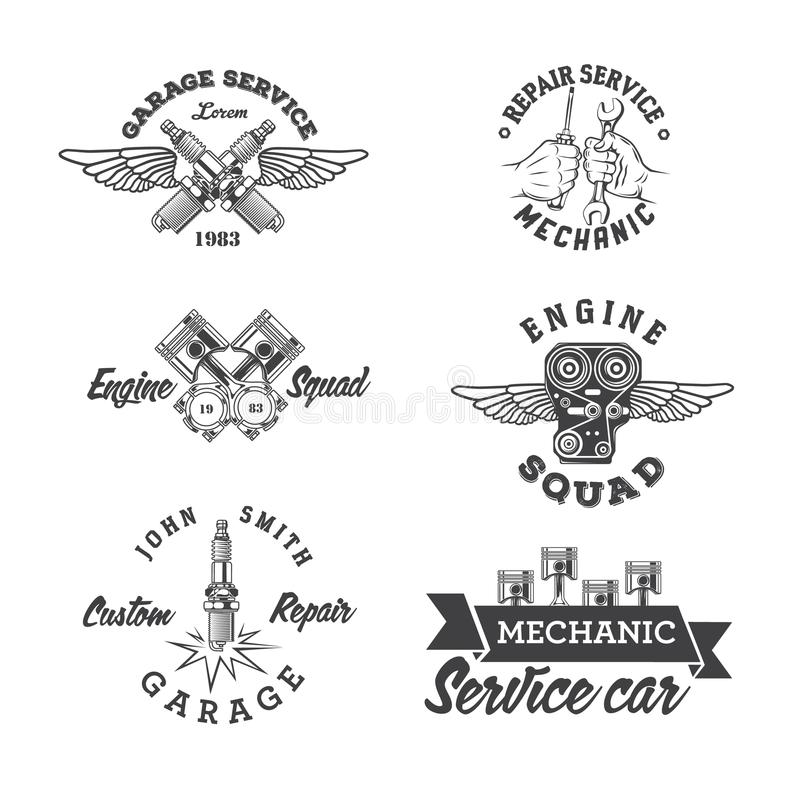 Free Set Of Vintage Auto Service Labels Stock Photography - 114401442