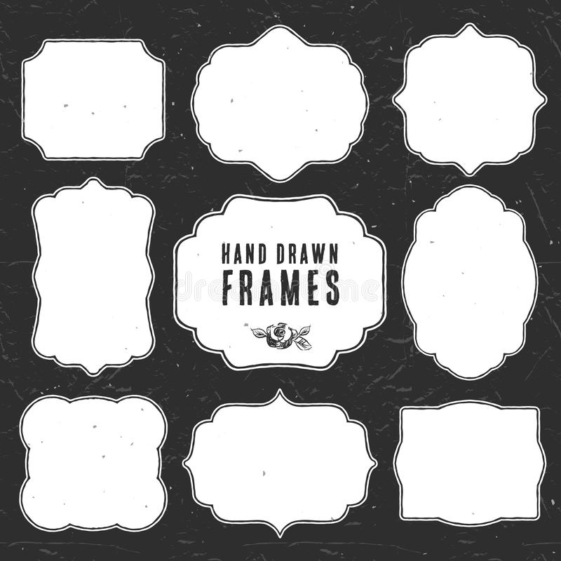 Free Set Of Vintage Chalk Frames And Labels. Hand Drawn Vector Stock Photography - 45904092