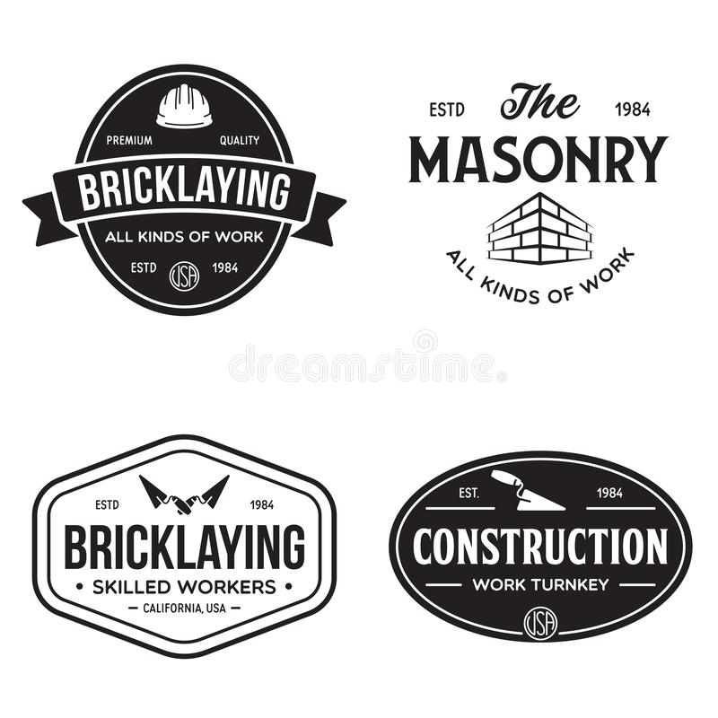 Free Set Of Vintage Construction And Bricklaying Labels Stock Photos - 160976923