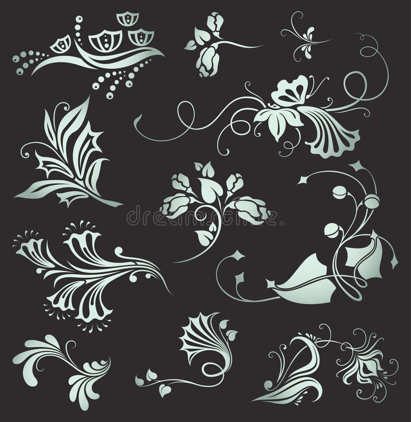 Free Set Of Vintage Floral Elements Royalty Free Stock Photo - 16648415