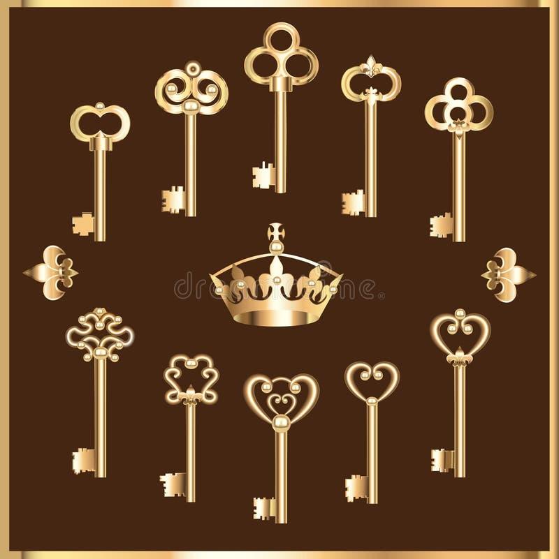 Free Set Of Vintage Gold Keys Stock Image - 53696461