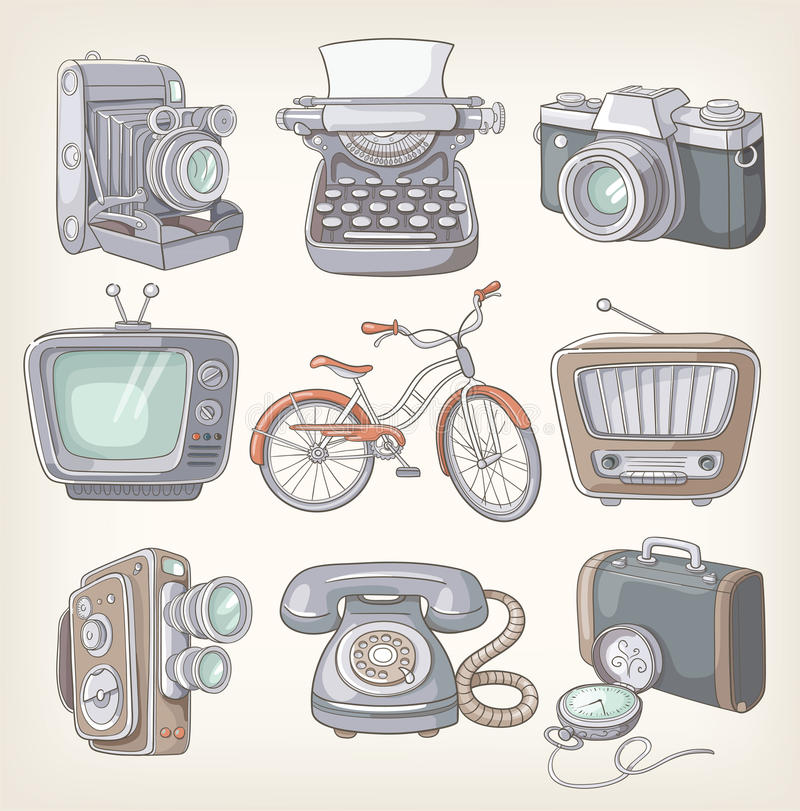 Free Set Of Vintage Items Royalty Free Stock Images - 33048639