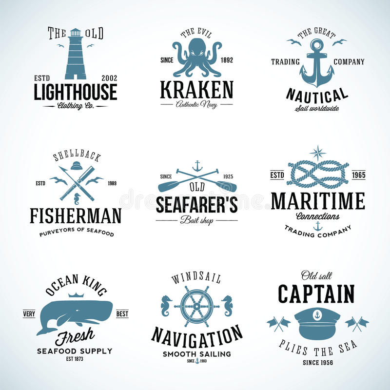 Free Set Of Vintage Nautical Labels And Signs With Stock Images - 42536454