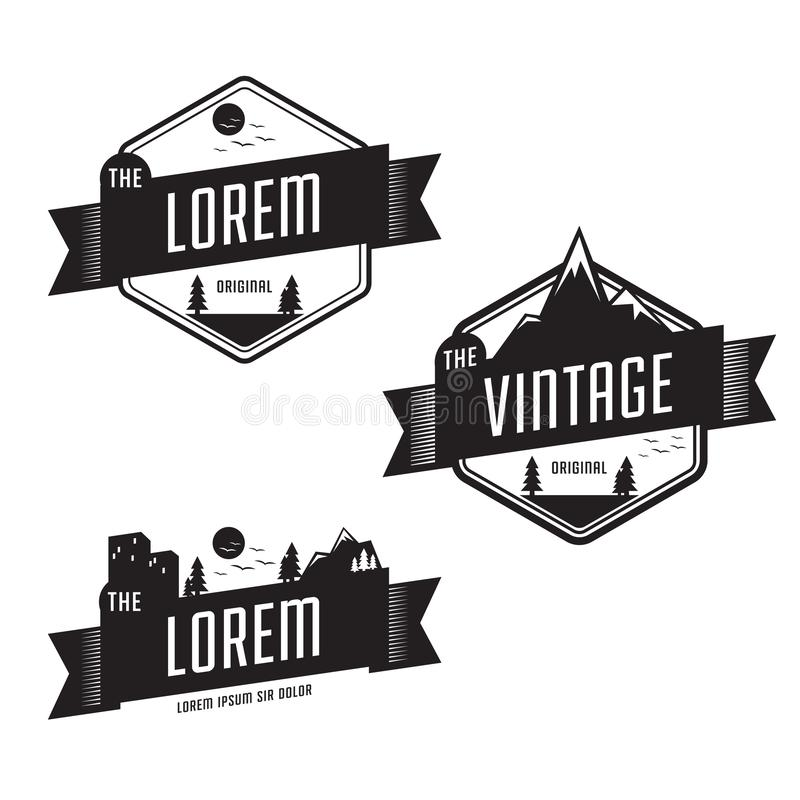 Free Set Of Vintage Retro Badge Template With Landscape Outdoor Nature, Mountain, Field, And City Background Royalty Free Stock Images - 142952329