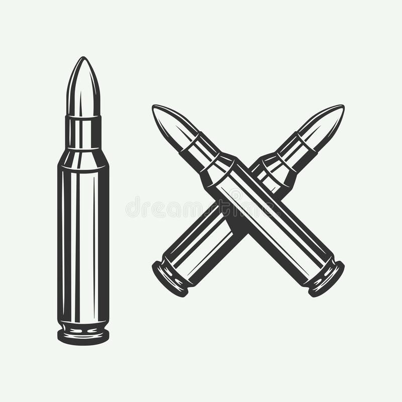 Free Set Of Vintage Retro Bullets. Can Be Used For Logo, Emblem, Badge, Poster Design. Line Woodcut Style. Stock Photos - 162933653