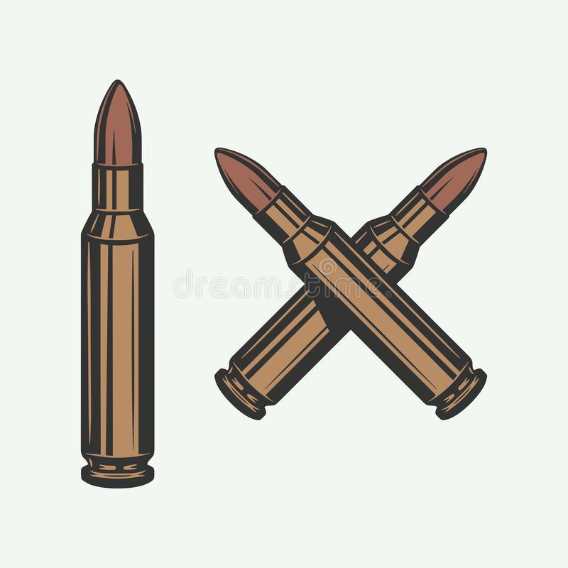 Free Set Of Vintage Retro Bullets. Can Be Used For Logo, Emblem, Badge, Poster Design. Line Woodcut Style. Color Graphic Art. Royalty Free Stock Image - 162933546