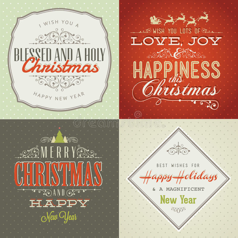 Free Set Of Vintage Styled Christmas And New Year Cards Royalty Free Stock Image - 27940776