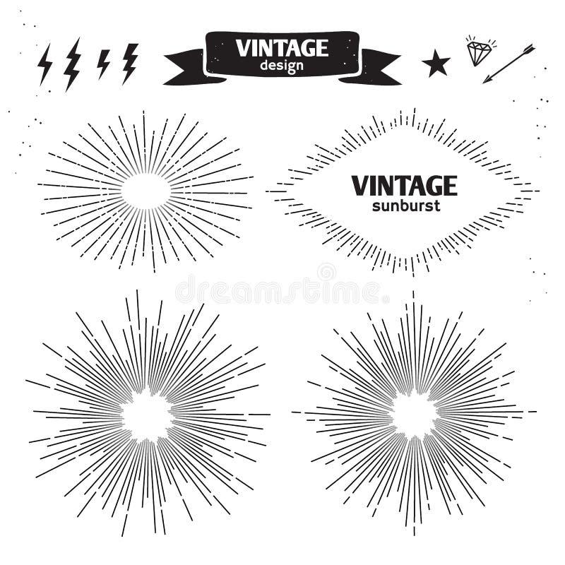 Free Set Of Vintage Sun Burst. Vector Monochrome Light Rays Stock Photo - 72001770