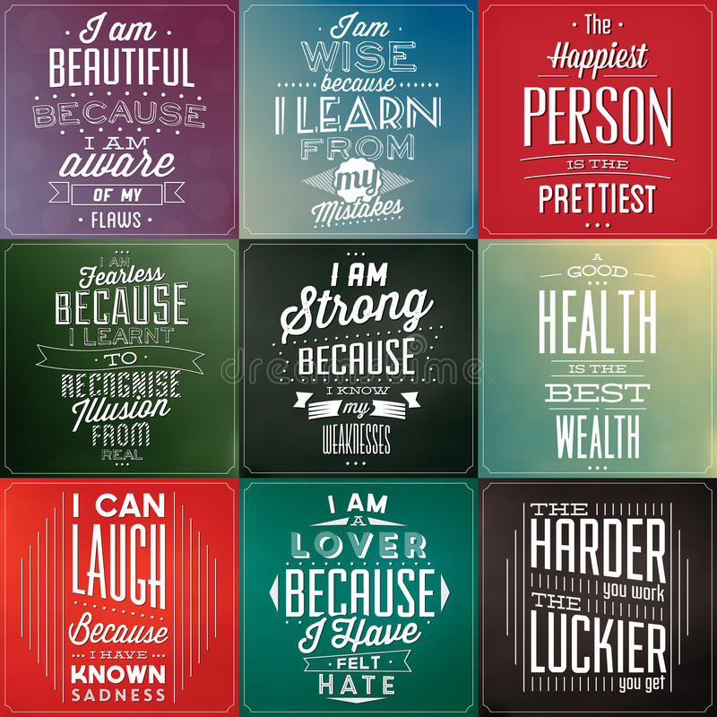 Free Set Of Vintage Typographic Backgrounds / Motivational Quotes Royalty Free Stock Photo - 35015645